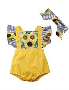billige Babytøj-Baby Pige Blomstret Farveblok Kort Ærme En del
