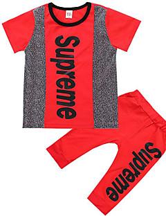 tanie Odzież dla chłopców-Dla chłopców Codzienny Prążki Komplet odzieży, Poliester Lato Krótki rękaw Podstawowy Black Czerwony