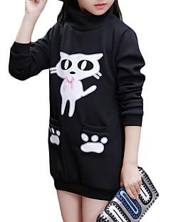 billige Hættetrøjer og sweatshirts til piger-Pige Hættetrøje og sweatshirt Daglig Ensfarvet, Bomuld Vinter Langærmet Tegneserie Sort