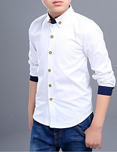 billige Overdele til drenge-Drenge Skjorte Ensfarvet Patchwork,Bomuld Forår Efterår Langt Ærme Simple Hvid
