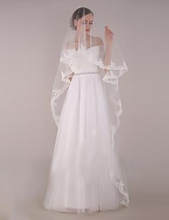 billiga Brudslöjor-Ett lager Blomstil / Mesh / Konvertibel klänning Brudslöjor Kapell Slöjor med Utspridda pärlbroderi blommotiv Tyll / Oval