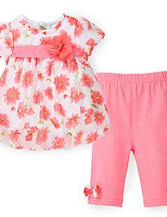 tanie Odzież dla dziewczynek-Dla dziewczynek Codzienny Kwiaty Nadruk Komplet odzieży, Poliester Wiosna Długi rękaw Urocza Niebieski Orange