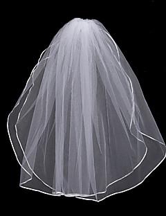 billiga Brudslöjor-Två lager Blomstil / Mesh / Konvertibel klänning Brudslöjor Kapell Slöjor Med Kant / Tvinning 31.5 in (80cm) POLY / Tyll