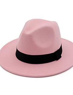 billige Hatter til damer-Dame Vintage Fest Grunnleggende Fedora Ensfarget Bomull
