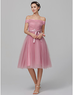 cheap Mix & Match Bridesmaid Dresses-A-Line Off Shoulder Knee Length Tulle Bridesmaid Dress with Sash / Ribbon / Side Draping by LAN TING BRIDE®