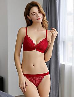 billige BH'er-Kvinner Sexy Sett med truse og BH BH med bøyler / Dytt opp 3/4 Kop - Ensfarget