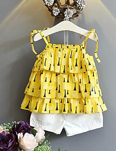 billige Tøjsæt til piger-Børn Pige Trykt mønster Uden ærmer Tøjsæt