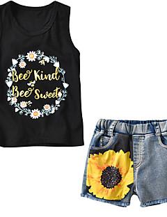 billige Tøjsæt til piger-Baby Unisex Ensfarvet Trykt mønster Uden ærmer Tøjsæt