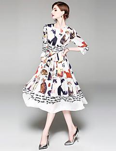 お買い得  ヴィンテージドレス-女性用 ヴィンテージ ストリートファッション Aライン スウィング ドレス - プリント, 動物 ミディ
