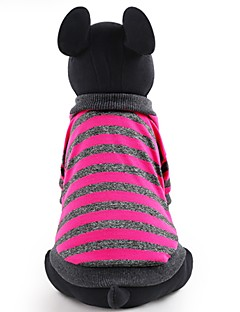 billiga Hundkläder-Hund / Katt / Husdjur T-shirt Hundkläder Randig / Färgblock / Enkel Fuchsia / Röd Bomull / Polyester Kostym För husdjur Dam Vanlig /