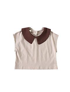 billige Babyoverdele-Baby Pige Farveblok Uden ærmer Skjorte