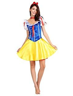 billige Halloweenkostymer-Prinsesse Film & Tv Kostymer Kostume Dame Voksne Kjoler Halloween Halloween Karneval Barnas Dag Festival / høytid Drakter Gul Ensfarget Klassisk Halloween