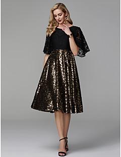 billige Paljettkjoler-A-linje Båthals Telang Blonder / Paljetter Cocktailfest Kjole med Paljett / Blonder av TS Couture®