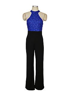 billige Jumpsuits og sparkebukser til damer-Dame Store størrelser Daglig Vintage / Søtt Blå Gull Vin Harem Sparkedrakter, Ensfarget Dusk Puffermer L XL XXL Bomull Ermeløs Vår