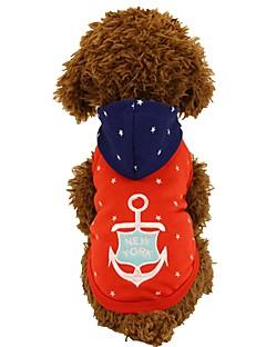 billiga Hundkläder-Hund / Katt / Husdjur T-shirt Hundkläder Slogan / Stjärnor / Tecknat Röd / Blå Cotton Kostym För husdjur Dam Stilig / Klassisk