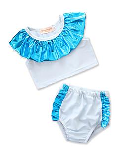 billige Badetøj til piger-Børn Baby Pige Ensfarvet Farveblok Uden ærmer Badetøj