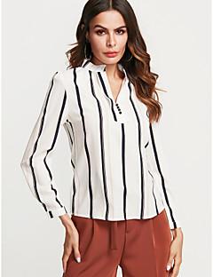 billige Bestselgere på salg-Lanterne Erme V-hals Skjorte Dame - Stripet / Fargeblokk Gatemote Ut på byen / Arbeid / fin Stripe