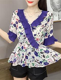 billige Bluse-Kvinderbluse - Blomsterkroppe