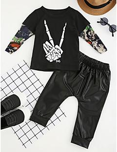 billige Tøjsæt til drenge-Drenge Tøjsæt Patchwork Mode, Bomuld Polyester/Bomuld Forår/Vinter Forår Langærmet Pænt tøj Sort