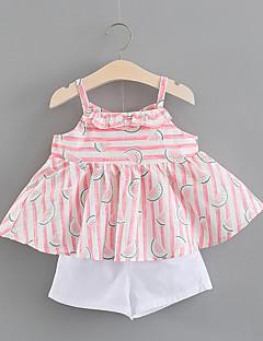billige Sett med babyklær-Baby Pige Trykt mønster / Farveblok Uden ærmer Tøjsæt