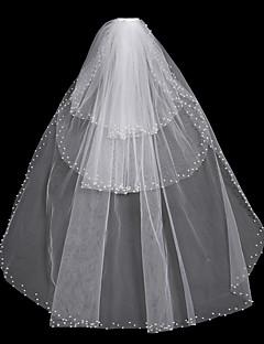 billiga Brudslöjor-Tre lager Blomstil / Mesh / Konvertibel klänning Brudslöjor Kapell Slöjor med Kant / Tvinning 31.5 in (80cm) POLY / Tyll / Oval