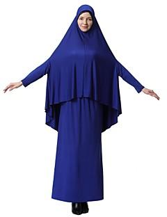 baratos Vestidos-Mulheres Simples Básico Kaftan Abaya Vestido Sólido Médio