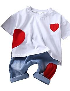 billige Tøjsæt til piger-Børn Unisex Trykt mønster Kortærmet Tøjsæt