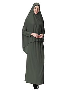 billiga Mammakläder-Dam Party Enkel / Grundläggande Abaya / Kaftan Klänning - Enfärgad Midi