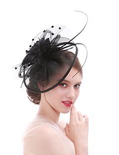 billige Hårpynt til damer-Dame Elegant / Mote fascinator - Blomst / Netting, Ensfarget