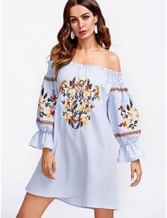 Χαμηλού Κόστους Φορέματα Boho-Γυναικεία Βαμβάκι Σε γραμμή Α Φόρεμα Μίνι Χαμόγελο