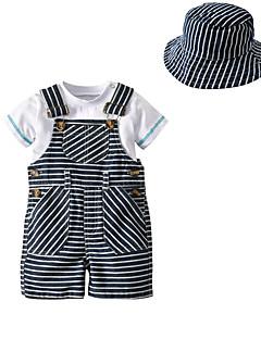 billige Tøjsæt til drenge-Børn Baby Drenge Ensfarvet Stribet Kortærmet Tøjsæt