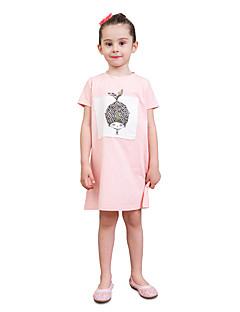 billige Pigetoppe-Børn Baby Pige Trykt mønster Farveblok Kortærmet T-shirt