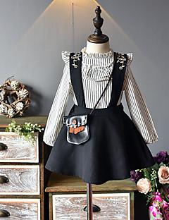 billige Tøjsæt til piger-Børn Pige Sort og hvid Ensfarvet Stribet Langærmet Tøjsæt