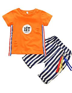 billige Tøjsæt til drenge-Baby Drenge Basale Ensfarvet Kortærmet Bomuld Tøjsæt