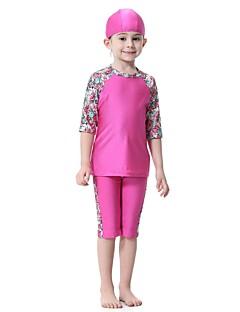 cheap Boys' Swimwear-Kids Girls' Floral Patchwork Half Sleeves Swimwear