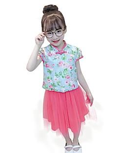 billige Tøjsæt til piger-Børn Pige Trykt mønster Jacquard Vævning Kortærmet Tøjsæt