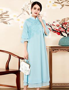 Χαμηλού Κόστους 8CFAMILY-Γυναικεία Βίντατζ Swing Φόρεμα - Μονόχρωμο, Κεντητό Μίντι