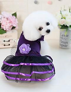 billiga Hundkläder-Hund / Katt / Små pälsdjur Klänningar Hundkläder Enfärgad / Blomma / Rosett Mörkblå / Purpur Polyester / Bomull Blandning Kostym För