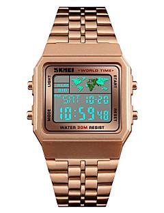 billige Rustfrit stål-SKMEI Herre Digital Watch Japansk Alarm / Kalender / Kronograf Rustfrit stål Bånd Afslappet / Mode Sort / Sølv / Guld / Vandafvisende / Stopur