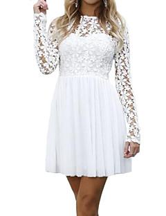billige Minikjoler-Dame Boheme Skede Kjole - Ensfarvet, Blonder Mini
