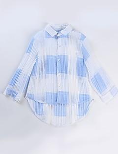 billige Pigetoppe-Børn Pige Blå & Hvid Ruder Langærmet Skjorte