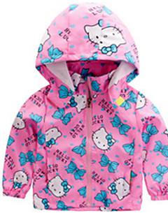 billige Jakker og frakker til piger-Børn Pige Ensfarvet Trykt mønster Langærmet Jakke og frakke