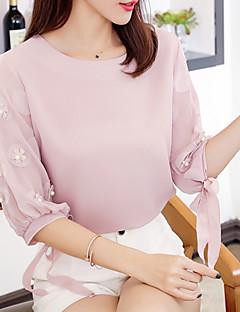 billige Bluse-dame bluse - solid farvet rund hals