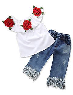billige Tøjsæt til piger-Baby Pige Ensfarvet Blomstret Uden ærmer Tøjsæt