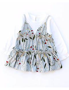 billige Babykjoler-Baby Pige Blomstret / Patchwork Langærmet Kjole