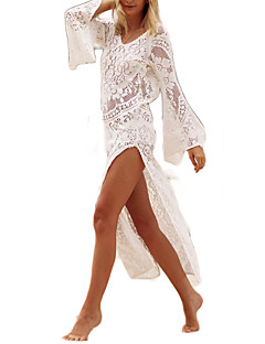 baratos Vestidos de Festa-Mulheres Boho Bainha Vestido - Renda, Sólido Assimétrico