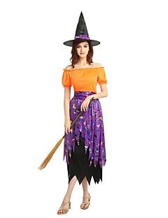 billige Halloweenkostymer-Trollmann / heks Drakter Unisex Halloween / De dødes dag / Maskerade Festival / høytid Halloween-kostymer Oransje Ensfarget / Halloween