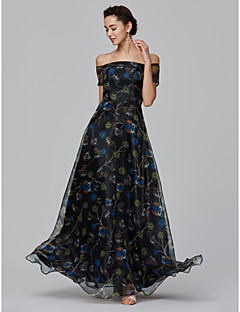 billige Mønstrede og ensfargede kjoler-A-linje Løse skuldre Gulvlang Organza Formell kveld Kjole med Mønster / trykk av TS Couture®