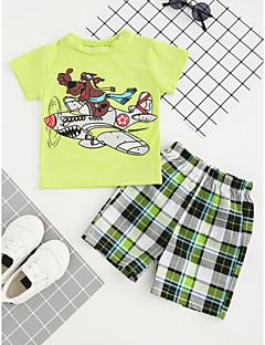 billige Tøjsæt til drenge-Drenge Tøjsæt Bomuld Sommer Kortærmet Ternet Lysegrøn