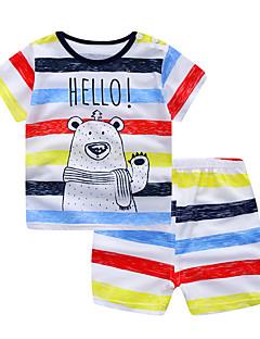 billige Tøjsæt til piger-Baby Unisex Stribet / Farveblok Kortærmet Tøjsæt